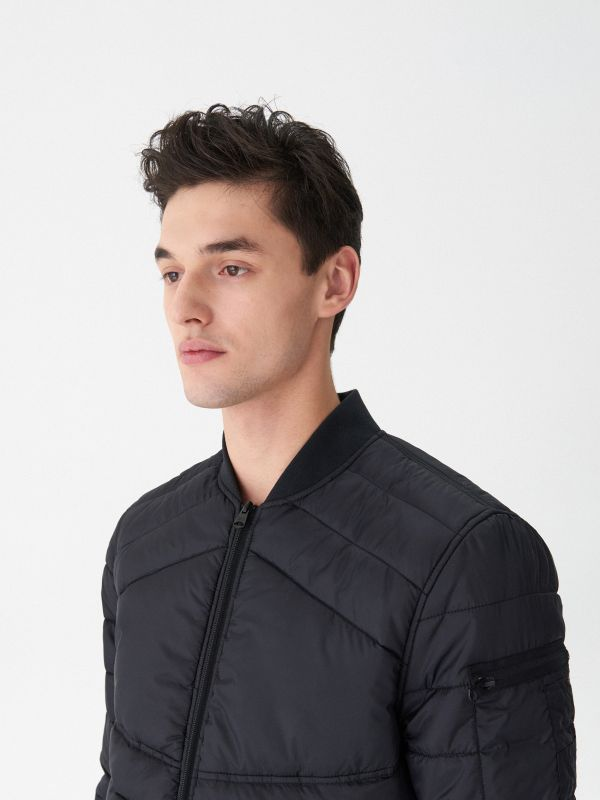 Quilted bomber jacket - black - US033-99X - House - 2