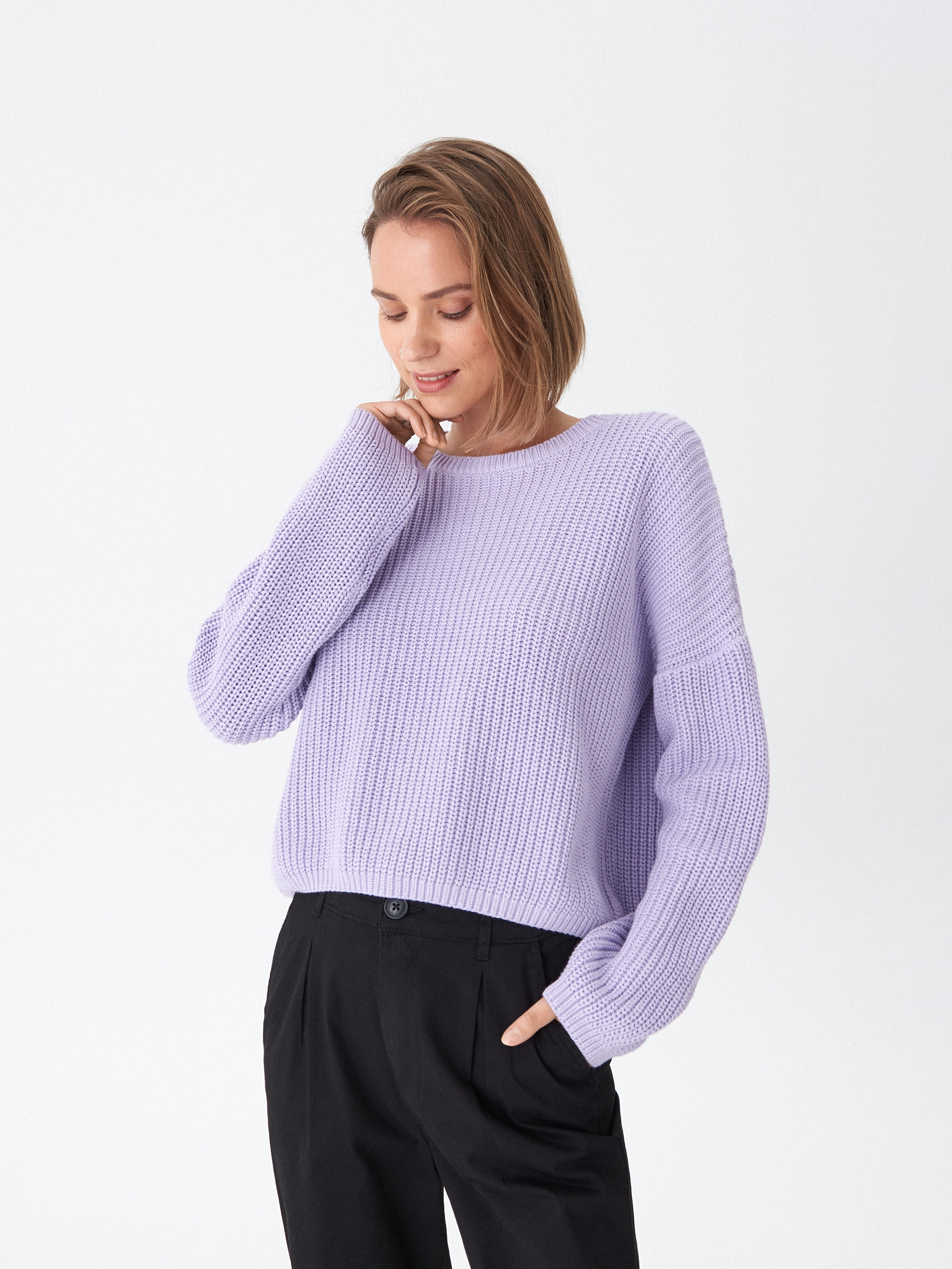 Sweter oversize - fioletowy - WQ371-04X - HOUSE - 3