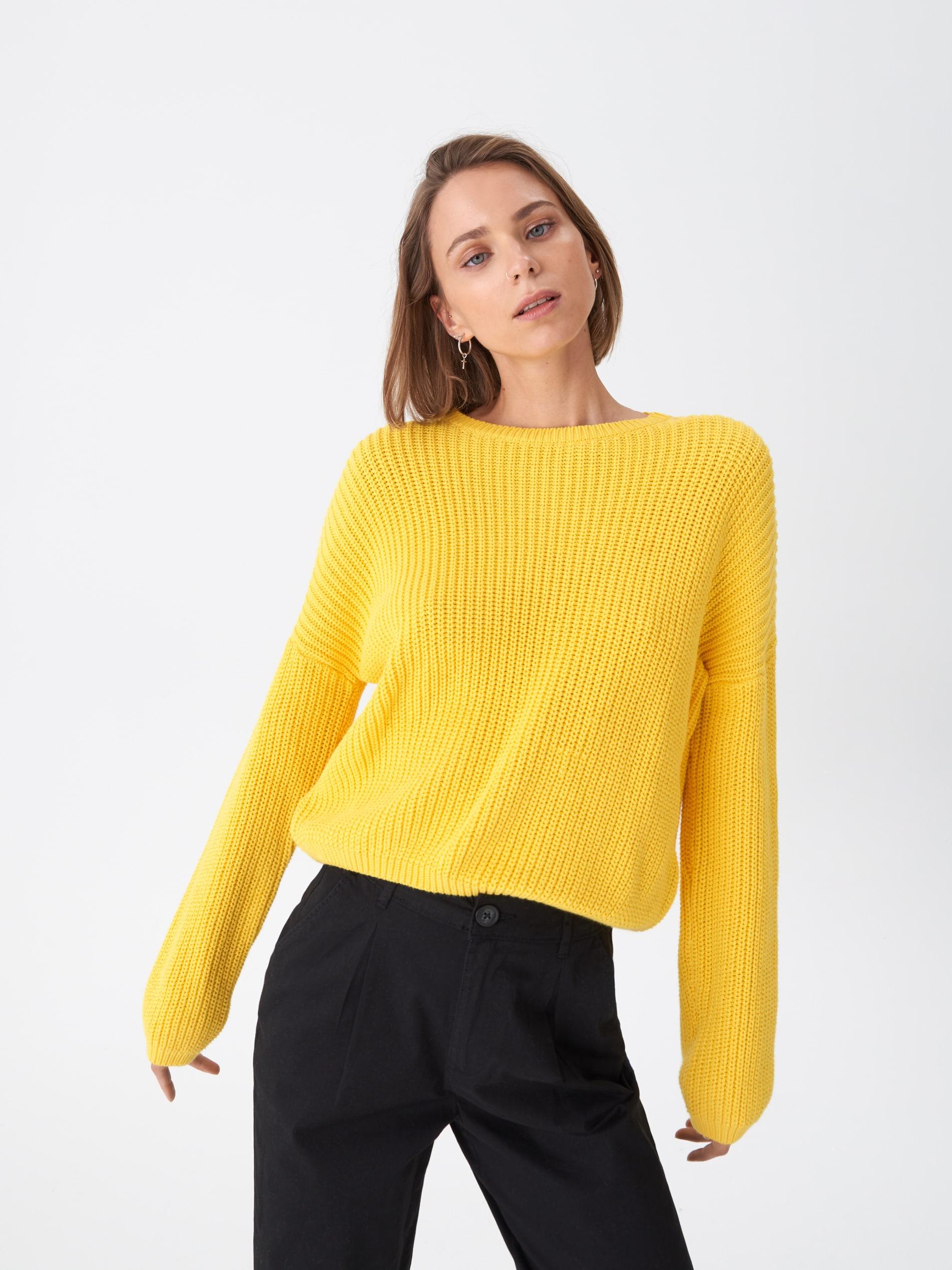 Sweter oversize - żółty - WQ371-11X - HOUSE - 1