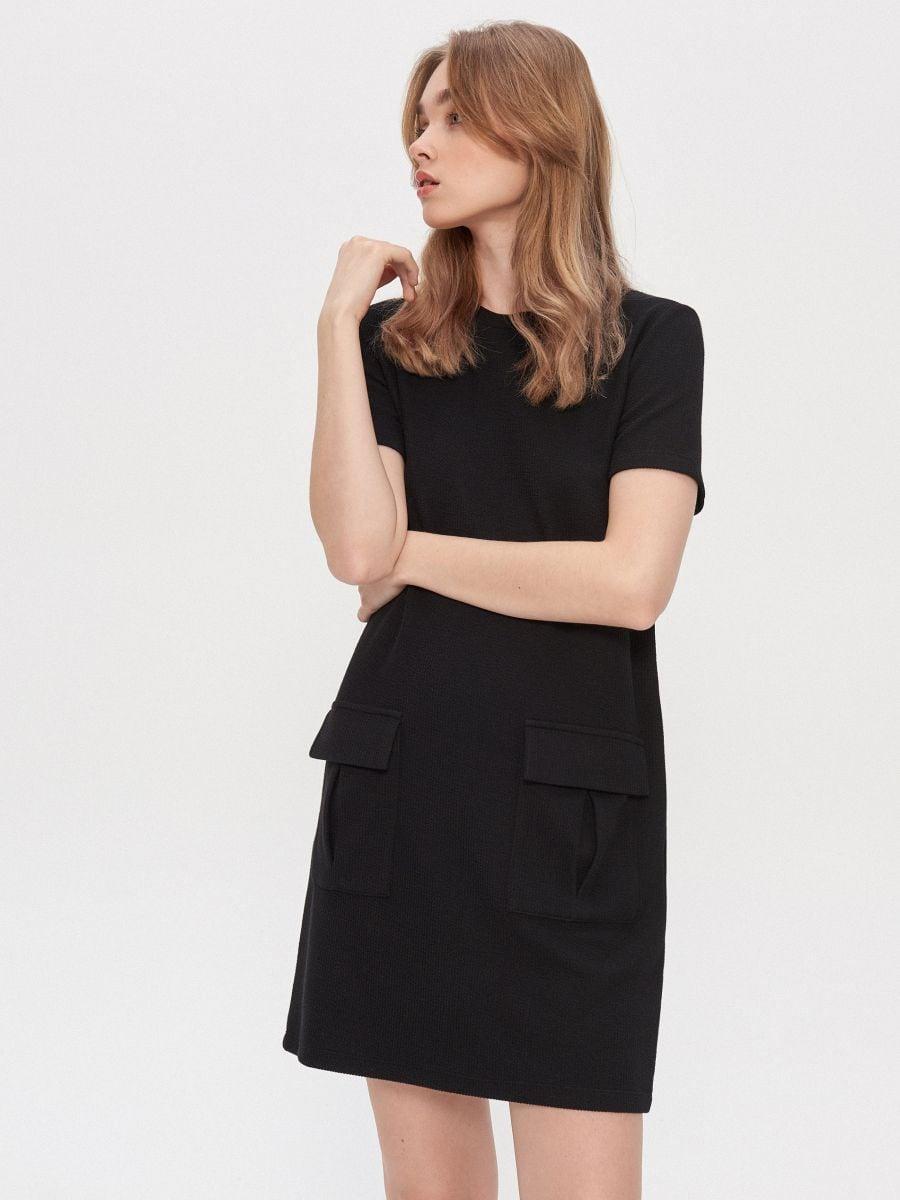 Schwarz Kleid Button Front Purchase E00ab 00f5d