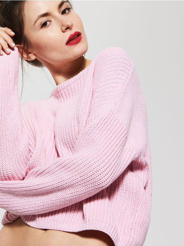 Avaralõikeline lühike sviiter - roosa - SR044-03X - House - 1