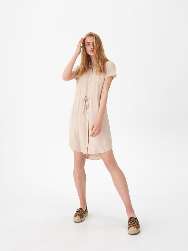 91b2439b32 Sukienka w paski · Sukienka o koszulowym kroju - beżowy - WU081-08X - HOUSE