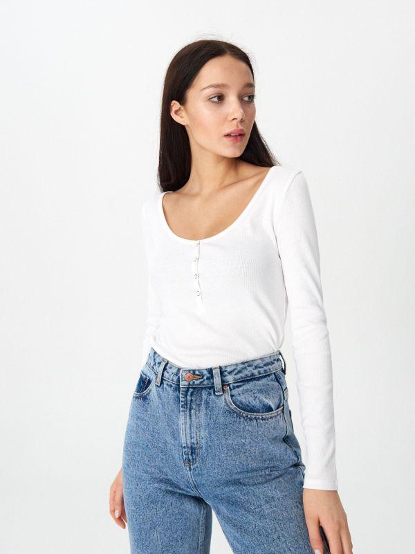 51cd3d8fc3db77 Koszulka w paski · Bluzka basic - biały - WW904-00X - HOUSE