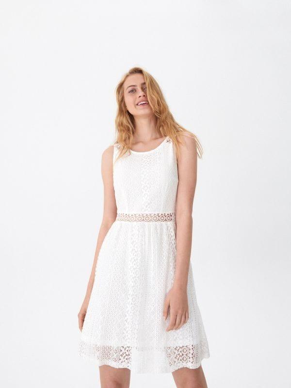 7852a03d22 Sukienka w paski · Ażurowa sukienka - biały - WY508-00X - HOUSE