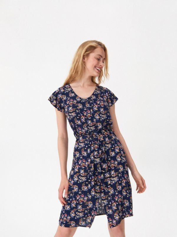 0c7bc43745 Ażurowa sukienka · Sukienka wiązana w talii - wielobarwny - XC094-MLC -  HOUSE