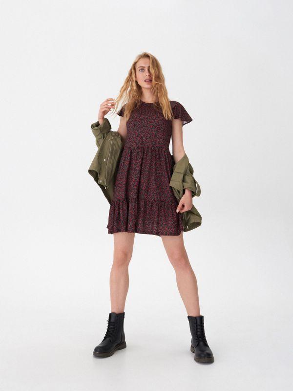 96a435f64e1a3 Sukienka wiązana w talii · Sukienka w kwiaty - wielobarwny - XD855-MC1 -  HOUSE