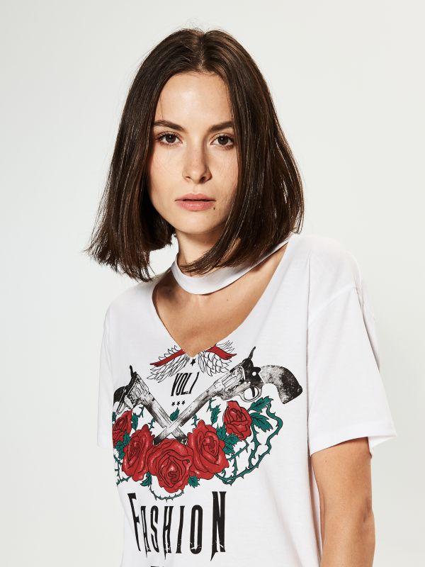 Bluzka z chokerem  - biały - RP605-00X - House - 0