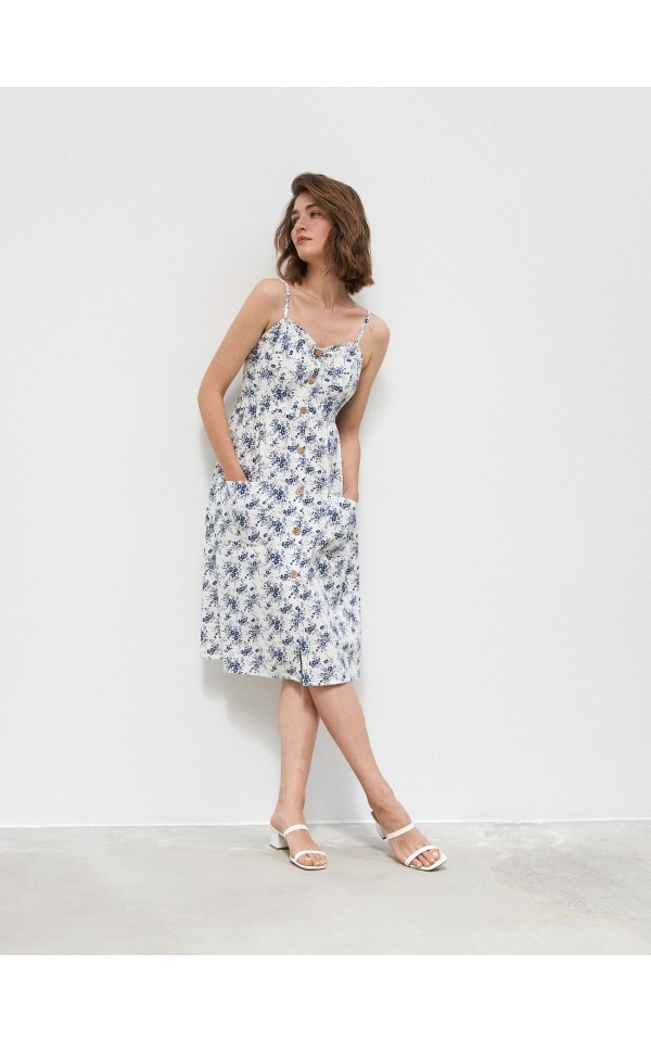 Wzorzysta sukienka z guzikami, HOUSE, YN705-MLC