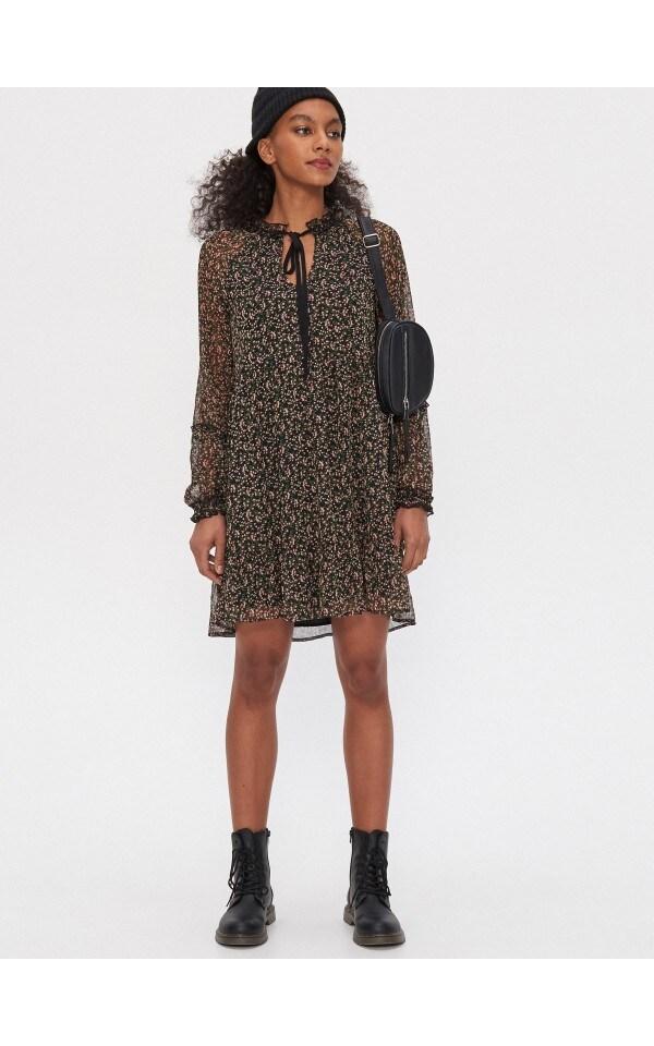 Sukienka z wiązaniem przy dekolcie, HOUSE, YU571-MLC
