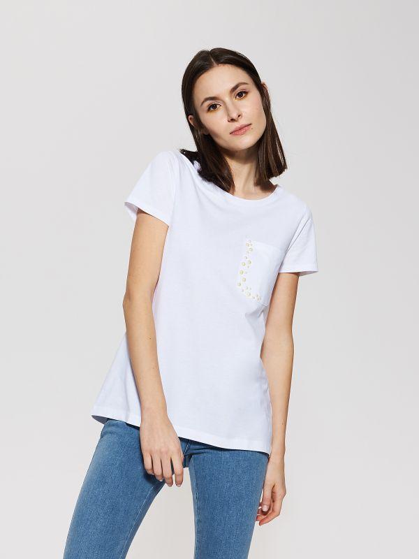 T-shirt cu perle artificiale - alb - SR821-00X - House - 1
