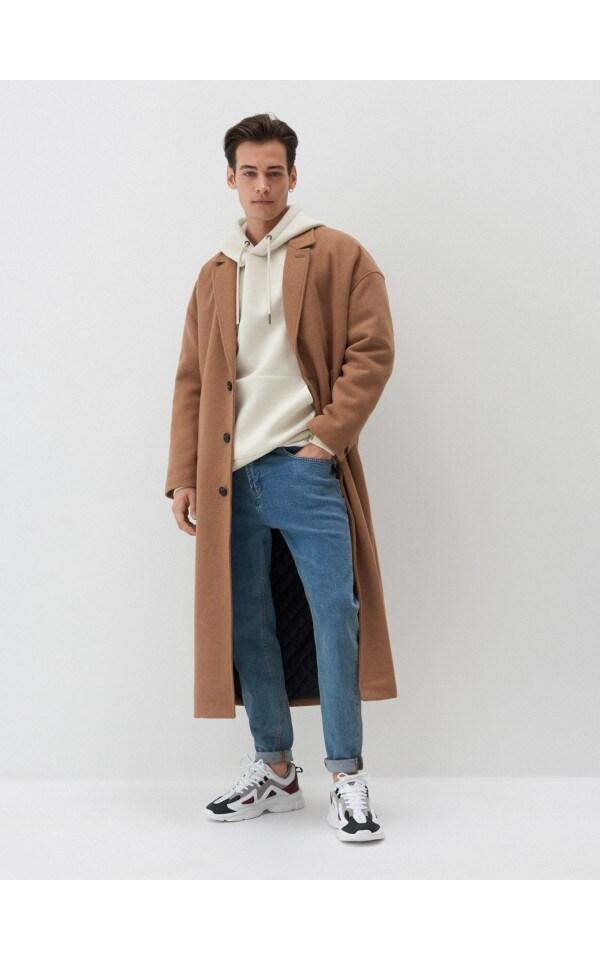 Полушерстяное пальто oversize, HOUSE, 4062A-80X