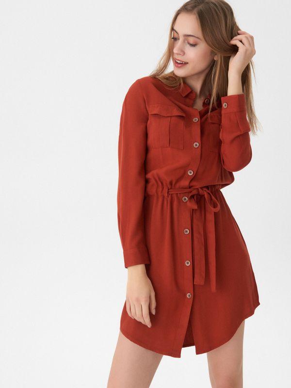 72aed6a2e79e ... Košeľové šaty s viazaním - bordový - VD510-92X - House - 1 ...